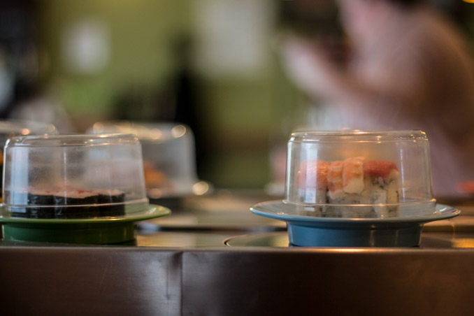 View of the Sushi conveyor belt at Sushi Kyo